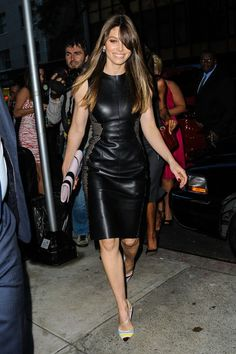 Jessica Biel. Black leather and studded, just what everyone needs.