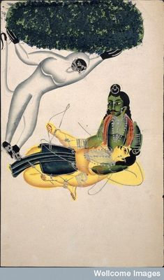 Hanuman bringing the mountain to the injured Lakshmana ( Wellcome Images : Kalighat) More about Hanuman and Medicine . Spirit Photography, Mythological Characters, Shri Hanuman, Wellcome Collection, Year Of The Monkey, Exotic Art, Krishna Pictures, Indian Folk Art, India Art