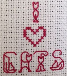 I love cats cross stitch by TinyCrafters on Etsy