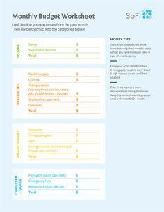 SoFi's Printable Budget Worksheet