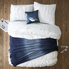 Layered Bed Looks – Cool Blue | west elm...light blue sheets  could also do with a different color