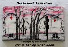 Southwest Lovebirds Hanging Heart Red Painting Original Canvas Painting Wall…