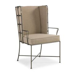 An impressive, metal-frame supports cushions that are upholstered in a neutral crème linen and can be easily removed if you prefer to make a bolder design statement. So stylish and hip, this chair will work in almost any dining room: contemporary, traditi Dining Corner, Dining Room Bench, Upholstered Dining Chairs, Dining Room Furniture, Outdoor Furniture, Dining Area, Kitchen Chairs, Wingback Chair, Room Chairs