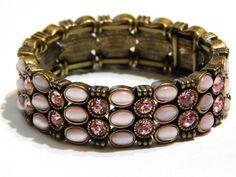 Vintage Stretch Bracelet With Pink Moonstone  by MURPHYSTREASURES2, $18.00