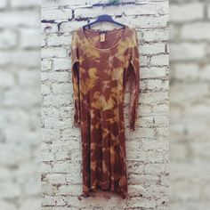 Maxi Dress Knitted Tie Dye Dress in Tan Colour to fit UK size 20 US size 16 Hippie Boho Festival Autumn Womens Fashion