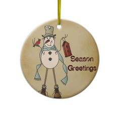 Old Fashion Blue Snowman Ornament.  Personalize it.  Look for more design in my store. #christmas, #ornaments, #snowman, #zazzle www.zazzle.com/designsbydonnasiggy?rf=238713599140281212