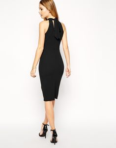 ASOS Pencil Dress in Crepe with Bow Back Detail