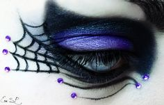 Purple crystals caught in a web of beautiful costume-like make-up, titled 'The Witch'.  Via jill@crystalbodytattoo.com