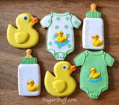 Baby duck theme decorated sugar cookies for boy or girl baby shower.