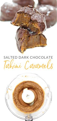Let me introduce you to your new favourite dessert! These beauties are made with only 4 simple ingredients: dates, tahini, dark chocolate + sea salt. And they are mighty fine. Paleo Treats, Vegan Snacks, Vegan Desserts, Just Desserts, Delicious Desserts, Yummy Food, Easy Baking Recipes, Good Healthy Recipes, Healthy Sweets