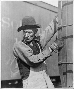 Old Time Freight Brakeman – New York Central by Lewis Hine, The Met's Photography Department Medium: Gelatin silver print Gift of Joyce F. Menschel, 2015 Metropolitan Museum of Art, New York,. Hard Working Man, Working People, August Sander, Lewis Hine, Old Trains, Train Pictures, New York Central, Of Mice And Men, Men Street