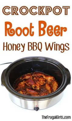 Crockpot Root Beer Honey BBQ Chicken Wings Recipe! ~ from TheFrugalGirls.com - just 3 ingredients and you've got a delicious Slow Cooker chicken dish and perfect Game Day food! #slowcooker #recipes #thefrugalgirls