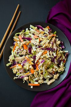 Asian Ramen Chicken Chopped Salad | Cooking Classy -- I combine this recipe and the other one for my version :)