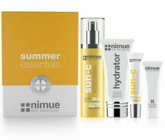 Summer Essential Kit is a line extension to the successful Nimue SPF 40 which include: Nimue SPF 30 body spray, ActiveNimue SPF 40, Nimue After Sun Hydrator, Nimue Exfoliating enzyme. Sun protection is one of the four Nimue key skin philosophies to reduce and prevent the harmful effects of environmental stress, pigmentation, to improve overall skin health, and reduce the effects of thermal ageing.