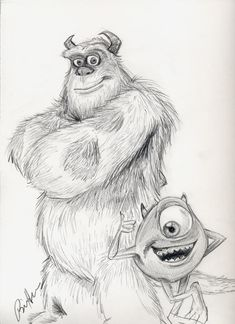 Mike and Sully by by ThePixarClub Disney Drawings Sketches, Cute Sketches, Cute Disney Drawings, Cartoon Sketches, Cool Art Drawings, Amazing Drawings, Drawing Sketches, Pencil Drawings, Spongebob Drawings