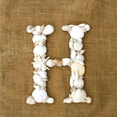 Purchase a wooden letter from the craft store along with a bag of assorted sea shells or use shells you've collected and hot glue them to the wooden letter. Add a ribbon for hanging.