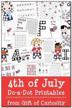 FREE 4th of July Do-a-Dot Printables. This pack includes 24 pages of patriotic do-a-dot worksheets to help kids work on letters, numbers, shapes, colors, and more! #DoADot #IndependenceDay || Gift of Curiosity
