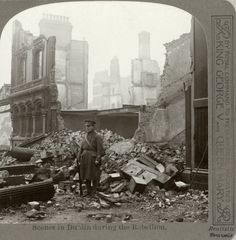 Rare pictures of the aftermath of the Easter Rising have gone on display as part of the official programme to commemorate the centenary in Britain.