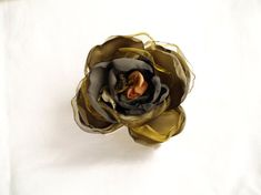 Navy Green Silk Flower Forest Green Flower by MyFlowerAccessories