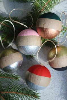Set of five paint dipped ornaments for a modern boho tree.