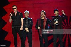 Bono, The Edge, Adam Clayton and Larry Mullen Jr accept the global icon award on stage during the MTV EMAs 2017 held at The SSE Arena, Wembley on November 2017 in London, England. U2 Band, Stock Pictures, Stock Photos, Larry Mullen Jr, Adam Clayton, Global Icon, Living Legends, Classic Rock, Rock Music