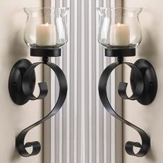Amazon.com - 2 FLUTED GLASS SCROLLING CANDLE WALL SCONCES
