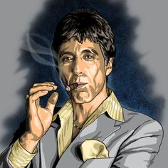 Scarface Al Pacino, Tony Montana Scarface Quotes, Scarface Poster, Godfather Quotes, The Godfather, Scarface Movie, Al Pacino, Caricatures, Scared Face, Gangster Quotes