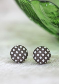 Button Earrings - Brown