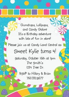 Printable Chalkboard Candy Lollipop Ticket Birthday Invitation
