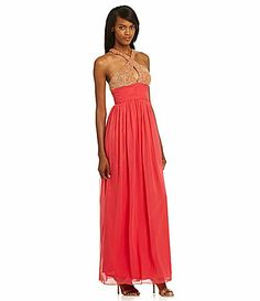 JS Collections Beaded Halter Gown #Dillards