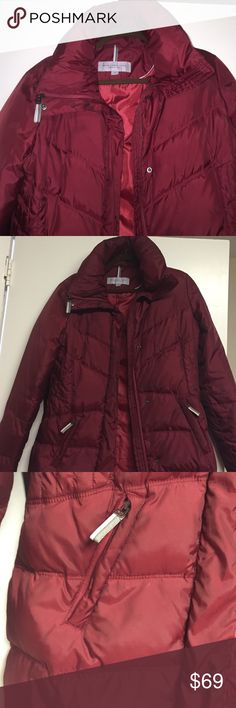 Andrew Marc Marc New York Burgundy puff jacket Fitted and nice style but warm too! Two zipper pockets Andrew Marc Jackets & Coats Puffers