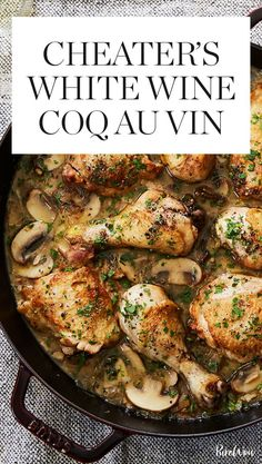Cheater's White Wine Coq au Vin via @PureWow
