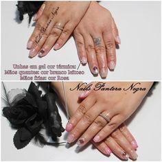 Unhas em gel cor térmica Rosa/branco com nail art pena com onças!