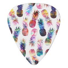 watercolor and nebula pineapples illustration guitar pick