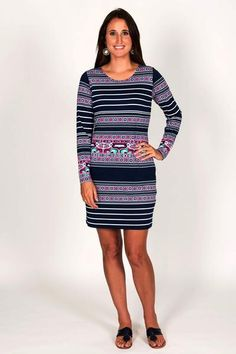 Another winner from Tracy Negoshian, this dress has subtle geometric print and striped pattern. You will feel confident and feminine in this easy-fitting dress that will take you from board meetings to brunch without missing a beat.