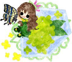 春のフリーのイラスト素材可愛い女の子と黄色い花のクリスタル  Free Illustration of spring A cute girl and a crystal of yellow flowers   http://ift.tt/2oXxNvw