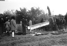 The people of Montcony, a village of Saône-et-Loire's department, in Bourgogne, East-Center France, surrounding the wreck of a British bomber aircraft crashed in the environs late evening of 23 October 1942.