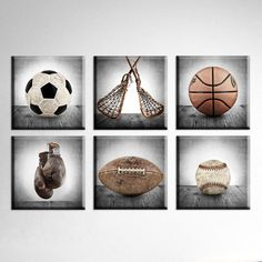 Vintage Square Sports Collection Set of Six Canvases Ready to Hang, Vintage Sports Nursery, Rustic Sports Decor