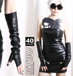 "40cm (15.75"") Fingerless Genuine Leather Gothic emo Punk Elbow Arm Warmer Gloves FREE SHIPPING. $43.00, via Etsy."