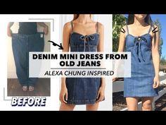 e78d2c09b54 Refashion Denim Mini Dress From Old Jeans (Alexa Chung Inspired)