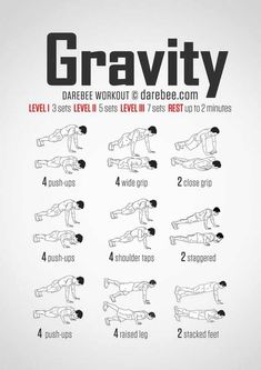 gravity (push-up) bodyweight workout for all fitness levels. Visual guide: print & use.No-equipment gravity (push-up) bodyweight workout for all fitness levels. Visual guide: print & use. Arm Workout No Equipment, Arm Workout Men, Chest Workout For Men, Push Up Workout, Gym Workout Tips, Fitness Workouts, At Home Workouts, Fitness Tips, Fitness Motivation