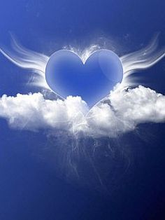blue heart in clouds ♥♥♥♥ ❤ ❥❤ ❥❤ ❥♥♥♥♥ I Love Heart, Happy Heart, Art Carte, Heart Wallpaper, Angel Wallpaper, Mystique, Arte Pop, Love Blue, In Loving Memory