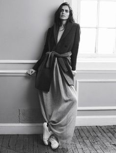 Slouchy long dress, smart jacket & sneakers; chic style // Isabel Marant AW14-15