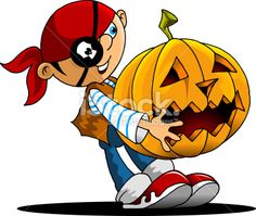 funny boy and a pumpkin Royalty Free Stock Vector Art Illustration