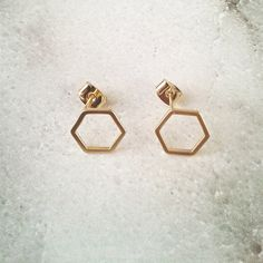 Halo Hexagon Honeycomb Earrings / GOLD by NavyandBerry on Etsy