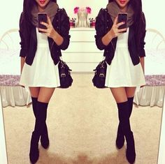 Spring Outfit - White Dress - Black Leather Motorcycle Jacket - Black Thigh High Boots(Ill do cowgirl boots) - Scarf(chunky necklace)