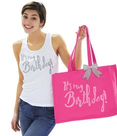 """It's your birthday! Let everyone know it's your special day with this tote. The tote says """"It's My Birthday"""" in real crystal rhinestones.Use it to put other gifts and favors in to give to the birthday girl! #bestbirthdayever #itsmybirthday #birthdaygirl #birthdaygiftideas"""