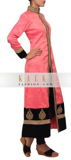 Buy Online from the link below. We ship worldwide (Free Shipping over US$100)   http://www.kalkifashion.com/peach-coloured-silk-salwar-suit-only-on-kalki.html