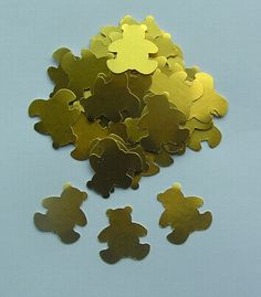 100 Die Cut Teddy Bears  Gold by SunnyCollectables on Etsy