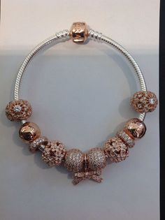 Pandora Jewelry OFF! Pandora Bangle Bracelet, Bangle Bracelets With Charms, Pandora Jewelry Store, Pandora Charms Rose Gold, Tiffany And Co Jewelry, Stylish Jewelry, Bracelet Designs, Bling, Rose Gold
